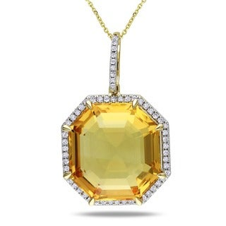 14k Yellow Gold Citrine and 1/4ct TDW Diamond Necklace (G-H, SI1-SI2)