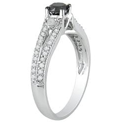 Miadora 10k White Gold 3/4ct TDW Black Diamond Ring (G-H, I2-I3)