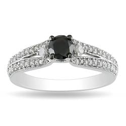Miadora 10k White Gold 3/4ct TDW Black and White Diamond Ring (G-H, I2-I3)