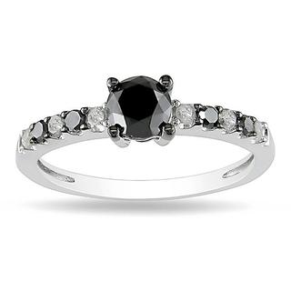 Miadora Sterling Silver 1ct TDW Black and White Diamond Bridal-style Ring (H-I, I2-I3)