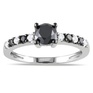 Haylee Jewels Sterling Silver 1ct TDW Black and White Diamond Ring (H-I, I2-I3)
