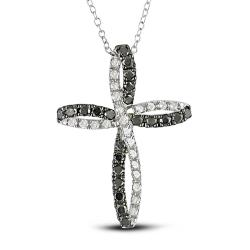 Miadora Silver 1ct TDW Black and White Diamond Cross Necklace (H-I, I2-I3)