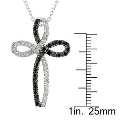 Miadora Silver 1/2ct TDW Black, White Diamond Religious Necklace (H-I, I2-I3)
