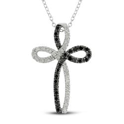 Miadora Sterling Silver 1/2ct TDW Black and White Diamond Cross Necklace
