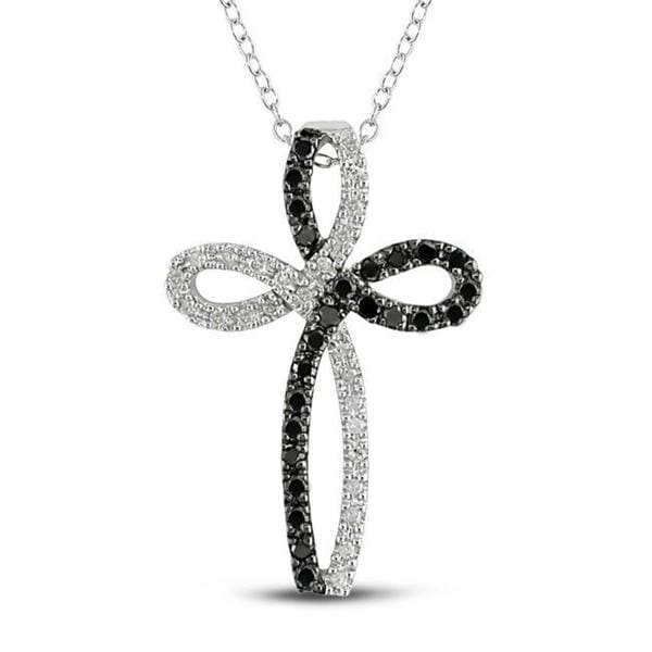 Sterling Silver 1/2ct TDW Black and White Diamond Cross Necklace