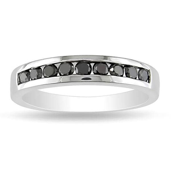 Miadora Sterling Silver 1/2ct TDW Black Diamond Channel Band