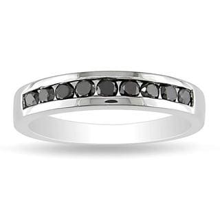 M by Miadora Sterling Silver 1/2ct TDW Black Diamond Channel Band