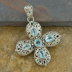 Sterling Silver 'Cawi' Blue Topaz Cross Pendant (Indonesia)