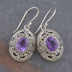 Sterling Silver Amethyst 'Cawi' Oval Dangle Earrings (Indonesia)
