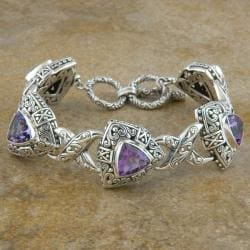 Sterling Silver 'Cawi' Amethyst Triangle Toggle Bracelet (Indonesia)