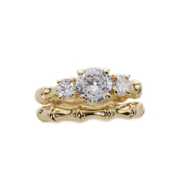 NEXTE Jewelry 14k Gold Overlay Cubic Zirconia Bridal-inspired Ring Set