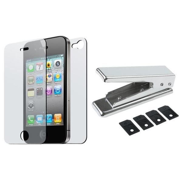 SIM Card Cutter/ 2-piece Screen Protector for Apple iPhone 4