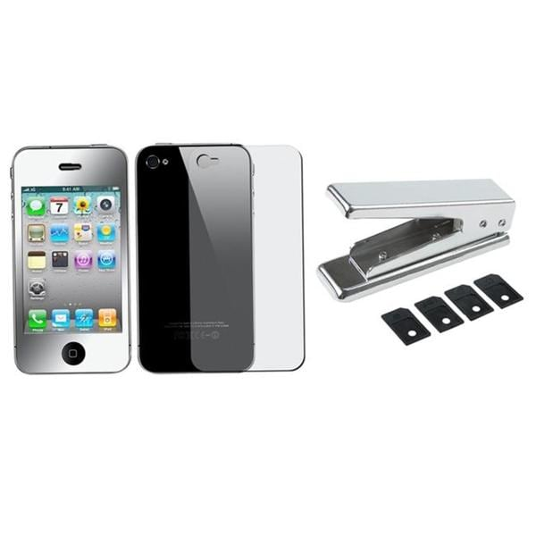 SIM Card Cutter/ 2-piece Mirror Screen Protector for Apple iPhone 4