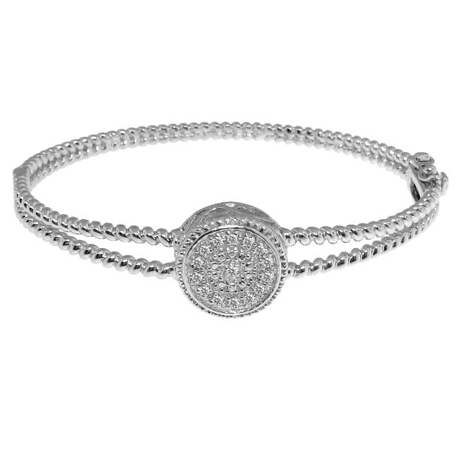 Sterling Silver 1/8ct TDW Diamond Circle Bangle (H-I, I3)
