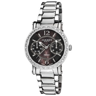 Akribos XXIV Women's Diamond Swiss Steel Day/ Date Silver-Tone Watch