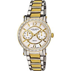 Akribos XXIV Women's Diamond Swiss Steel Diamond-Encrusted Day/ Date Watch