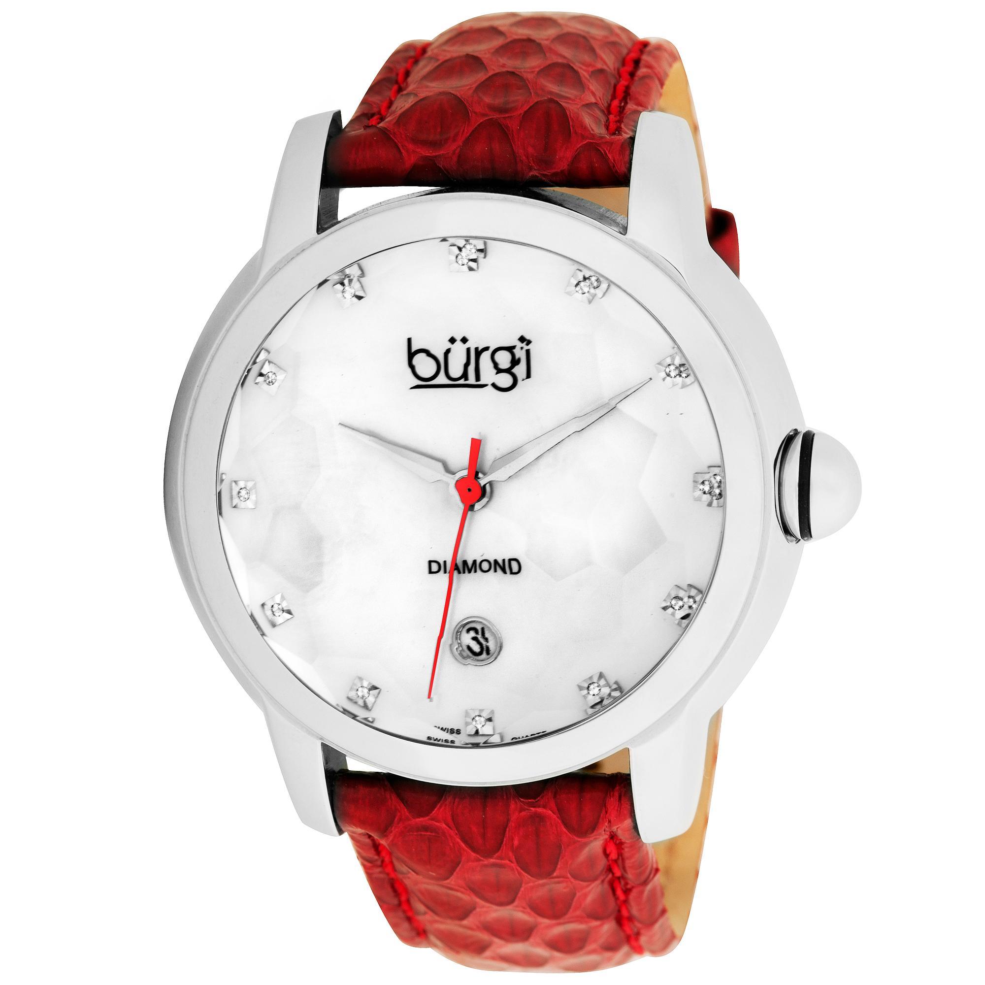 Burgi Women's Diamond Swiss Quartz Date Red Strap Watch