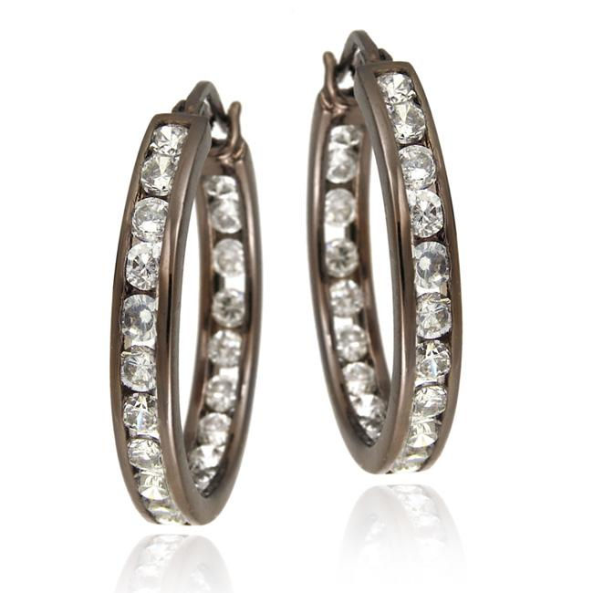 Icz Stonez Brown Rhodium over Sterling Silver Cubic Zirconia Hoop Earrings