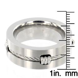 Stainless Steel Polished Cable Inlay Ring