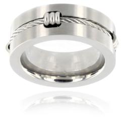 West Coast Jewelry Stainless Steel Polished Cable Inlay Ring
