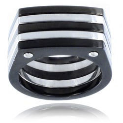 Stainless Steel Black and White Plated Screw Accent Ring