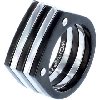 West Coast Jewelry Stainless Steel Black and White Plated Screw Accent Ring
