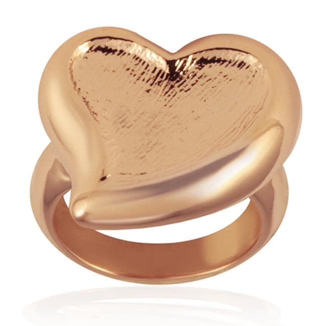 Rose Goldplated Stainless Steel Heart Ring