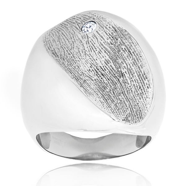 Stainless Steel Cubic Zirconia Accent Textured Free Form Ring
