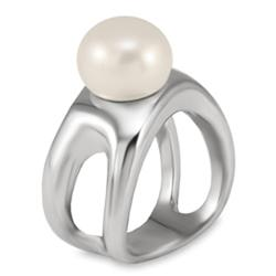 West Coast Jewelry Stainless Steel Faux White Pearl Free-form Ring