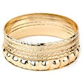 West Coast Jewelry Goldtone Stackable Various Faceted Texture Bangle 3-piece Set