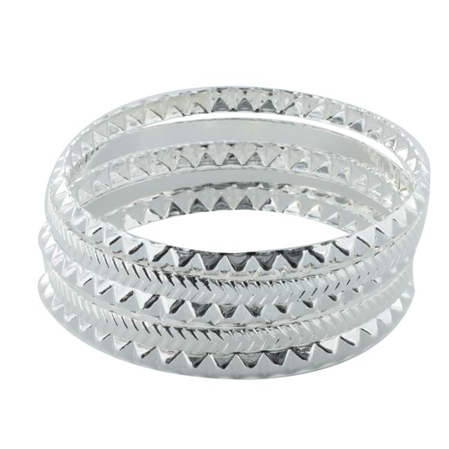 Silvertone Stackable Faceted Pattern Bangle 5-piece Set