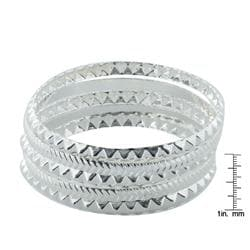West Coast Jewelry Silvertone Stackable Faceted Pattern Bangle 5-piece Set