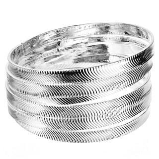 West Coast Jewelry Silvertone Textured Stackable 6-piece Bangle Bracelet Set
