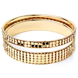 Goldtone Stackable 2-piece Embossed Circle Bangle Set