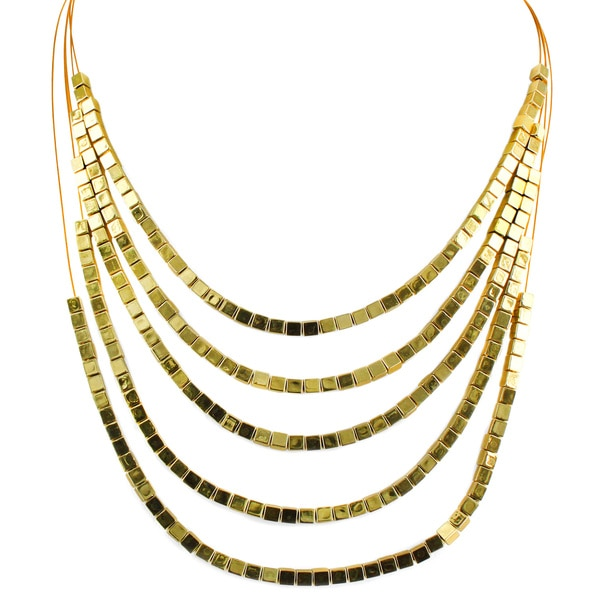 West Coast Jewelry Goldtone Square Bead 5-strand Necklace