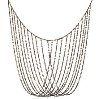 Goldtone Multi-strand Overlapping Chain Link Necklace