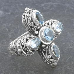 Sterling Silver Blue Topaz 'Cawi' Cross Ring (Indonesia)