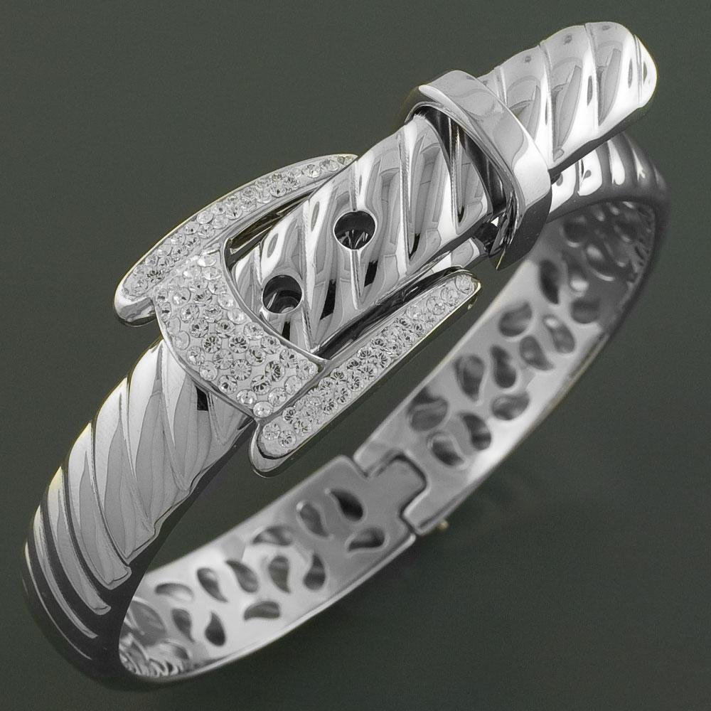 Stainless Steel Cubic Zirconia Accented Belt Bangle Bracelet (China)