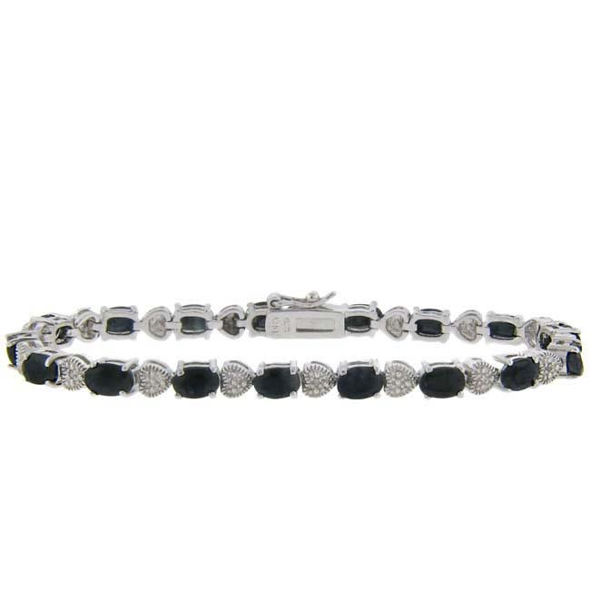 Dolce Giavonna Sterling Silver Sapphire and Diamond Accent Heart Bracelet