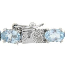 Sterling Silver Sapphire, Blue Topaz and Diamond Accent Heart Bracelet