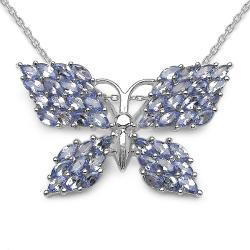 Malaika Sterling Silver Butterfly Tanzanite Necklace