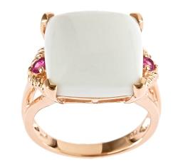 Gold over Silver White Agate and Pink Sapphire Ring | Overstock.com