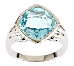 D'Yach Sterling Silver Cushion-cut Blue Topaz Ring