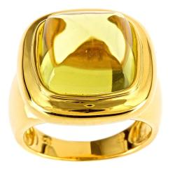 D'Yach Gold over Silver Square-cut Lemon Quartz Ring