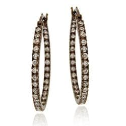 Icz Stonez Brown Rhodium over  Sterling Silver Cubic Zirconia Oval Hoop Earrings