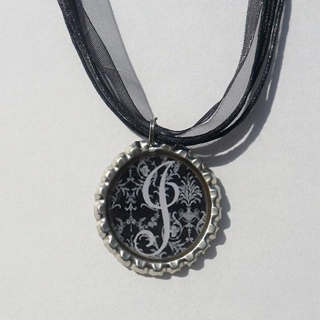Black and White Monogram Bottle Cap Necklace
