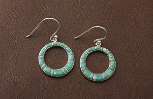 Sterling Silver Inlaid Turquoise Earrings (Thailand)