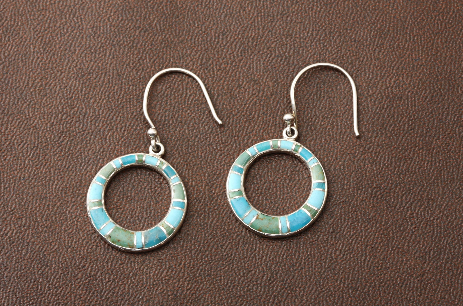 Sterling Silver Turquoise Multi-inlay Earrings (Thailand)