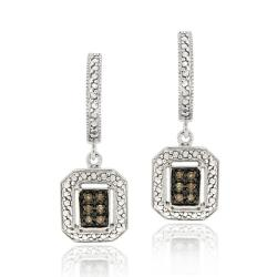DB Designs Sterling Silver 1/8ct TDW Brown Diamond Dangle Earrings