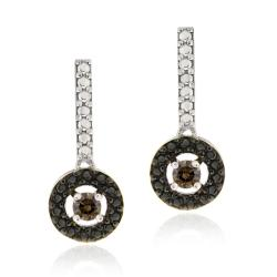 Sterling Silver 2ct TDW Brown Diamond Drop Earrings